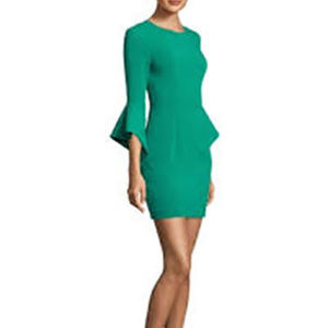 Black Halo Lorie Bell-Sleeve Mini Dress Green 2
